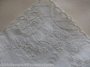 """Victorian Wedding Bridal White Work Embroidery Tambour Lace Hanky 11"""" #2"""