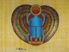 "Egypt Original Hand Painted Papyrus 8""X12"" (20x30 Cm) Scarab Paharaoh Good Luck"