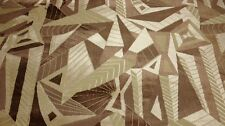 """CLARENCE HOUSE ARBOLES BEIGE GEOMETRIC VELVET UPHOLSTERY FABRIC BY THE YARD 52""""W"""