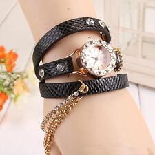 montre femme bracelet triple NOIRE simili cuir chaine et diamants strass NEUVE !