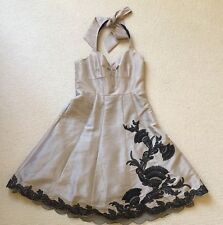 Karen Millen dress 12  beige black lace applique halter Party event wedding