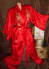 USA M VinTage Long Red Silk Kimono Robe Rich Gold Embroidery Cherry Blossoms