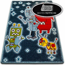 Rugs Soft and Tight Children Carpet Kids C419 Black Robot