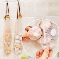 Kitchen Fruit Vegetable Hanging Storage Mesh Bag Garlic Onion Organizer Reusable