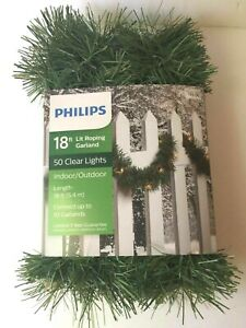 Philips 18 feet Christmas 50 Pre-lit Clear Lights Artificial Roping Garland NEW