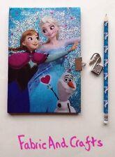 -/Elsa Frozen Anna/Olaf notebook/Diario/Lucchetto/Chiave e matita-DISNEY UFFICIALE - 40 pagine