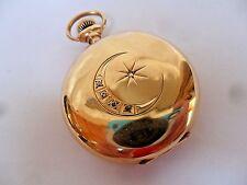 1904 Antique Waltham Seaside 14k Gold Diamond Crest Hunter's Case Pocket Watch