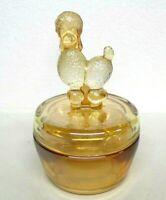 Jeanette Marigold Glass Powder Dish Vintage Poodle Covered Carnival Luster Glass