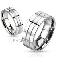 Stylish FAMA Stainless Steel Maze Black IP Center Greek Key Ring Band Size 5-14
