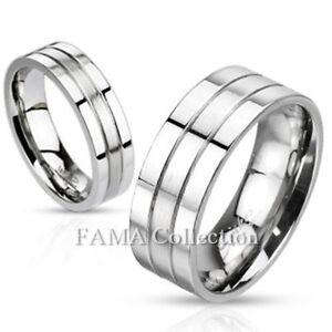 FAMA Stainless Steel Brushed Center Flat Wedding Band with Beveled Edge Ring