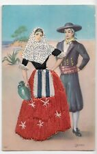 Spanish Embroidered Postcard- Traditional Costume, Appliqué Stitching, Unposted