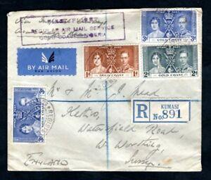 Gold Coast 1937 Imperial Airways KGVi Coronation First Flight Cover via Nigeria