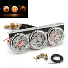 52mm Chorme Car Triple Gauge Kit Oil Pressure degrees F Water Temp Ammeter White