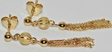 9CT YELLOW GOLD ON SILVER VICTORIAN STYLE TASSEL DROPPER STUD LADIES EARRINGS