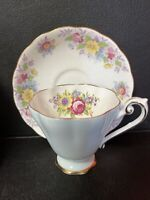 Royal Standard Bone China Blue Floral Tea Cup &Colclough Matching Saucer England
