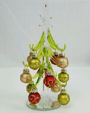 "7"" Glass Green and Gold Christmas Tree with Ornaments, Desk or Table top Tree"