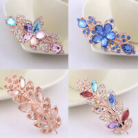 Women Girls Crystal Rhinestone Flower Barrette Hair Clip Clamp Hairpin Czxy