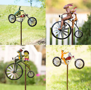 Wind Spinner Frog Riding Standing Vintage Bicycle Yard Lawn Windmill Ornament