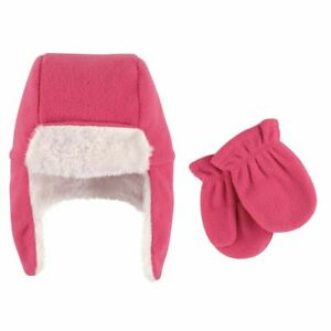 Hudson Baby Infant Trapper Hat and Mitten Set, Dark Pink