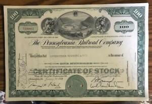 PENNSYLVANIA RAILROAD COMPANY STOCK CERTIFICATE/ALTOONA HORSESHOE CURVE - GREEN