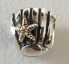Retired Pandora Sterling Silver Seashell With 14K Starfish Charm 790249