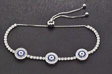 925 Sterling Silver Platinum Blue Sapphire Evil Eye Adjustable Tennis Bracelet