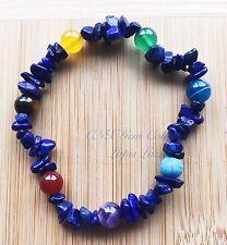 Crystal Gemstone Lapis Lazuli Chip Stone Chakra Beads Stretchy Bracelet C