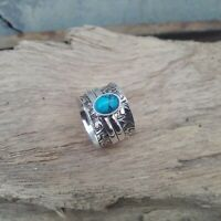 Turquoise Ring Solid 925 Sterling Silver Spinner Meditation Statement Ring V874