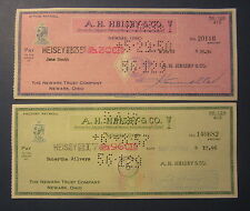 2 Old 1950's A.H. HEISEY & Co. Payroll BANK CHECKS - Crystal Glassware Newark OH