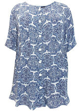 Long Paisley Blouse Plus Size 22 24 26 Shirt navy blue buttoned Top 273