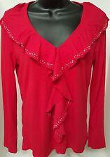 Jones New York Signature Woman's Red w/ Gems Shirt Size M
