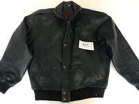 "TLC Vintage Motorcycle Jacket Real Leather Black S Armpit 22"" Lgth 27"" (849)"