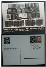 RARE 1937 Germany Paul Koch Aschersleben Postcard with Ka-Be tab Stamp Day cds