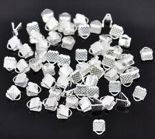 LOT de 40 EMBOUTS PINCES ATTACHE RUBAN à griffes 6x8x5mm ARGENTES perles bijoux