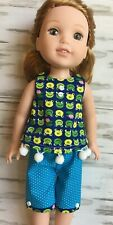 """Little Frog Faces Set fits 14.5"""" American Girl Wellie Wishers Doll Clothes"""