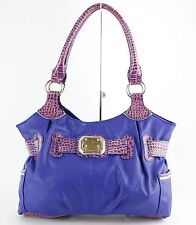 Rosetti Royal Blue Purple Croco Embossed Accents Faux Leather Large Purse B350