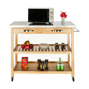 Rolling Kitchen Cart Trolley w/ with Stainless Steel Table Top Drawers Shelves