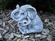 Steinfigur Elefantenmutter mit Kind  Frostfest Steinguss Elefant Garten Tier