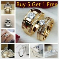Women Gold Filled Diamond Engagement Ring Set Men Size 7 To 14 Size 5 To 12 Gift