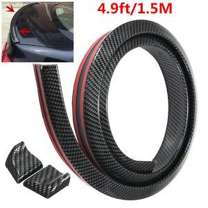1.5M Carbon Fiber Soft Rubber Car Rear Roof Trunk Spoiler Wing Lip Trim Sticker