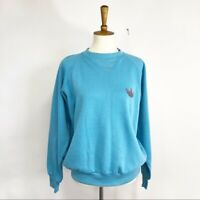 Vintage 90's Adidas Embroidered Blue Crew Neck Sweatshirt Womens Classic Fit