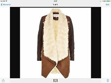River Island New Bnwt Coat Jacket Uk 12 brown Waterfall Faux Fur Suede Leather