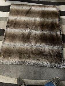 Bella Lux Faux Fur Throw Blanket Brown Tone Gray Blend 50x60 Luxury L@@K!!!!!