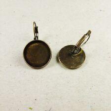 5 paires (10) Antique Bronze Laiton Cabochon Cameo boucles d'oreille pendantes réglage Plateau 18 mm