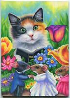 "MICE MOUSE WEDDING BRIDGE GROOM CALICO CAT PREACHER ACEO ARTIST 5"" x 7"" PAINTING"