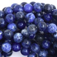 "Blue Sodalite Round Beads Gemstone 15.5"" Strand 4mm 6mm 8mm 10mm 12mm"