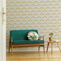 Fresco Retro Ogee Ochre Geometric Wallpaper