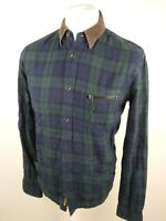 Mens All Saints Oakland Flannel Check Tartan Shirt Green Small Slim 38/40 Chest