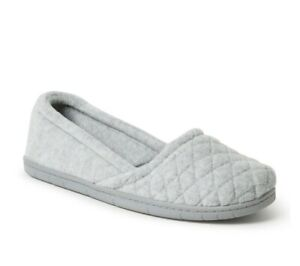 NEW Dearfoams Womens Heather Grey Katie Velour Slip On Slipper, XL 11 - 12