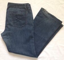 MISSES SIZE 14 ~ DKNY MEDIUM BLUE DENIM DISTRESSED JEANS 37 x 32
